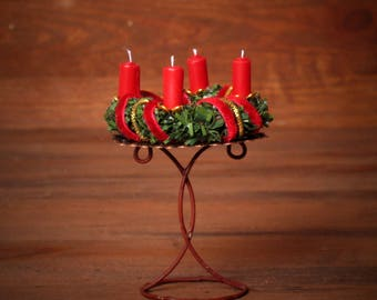 Rustic Miniature Advent Wreath on Stand for your Dollhouse