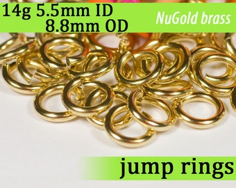 14g 5.5mm ID 8.8mm OD NuGold brass jump rings -- 14g5.50 jumprings gold golden links