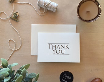 Thank You Cards Creme Gold Pack/ 10 cards 105mm x 148mm (A5 when folded & 10 Envelopes)