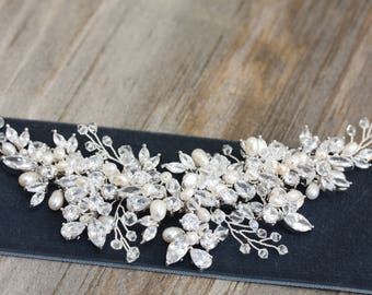 Large Wedding Crystal and Freshwater Pearl, Rhinestone Bridal Hair Comb