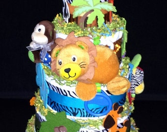 Lion Musical Jungle Diaper Cake
