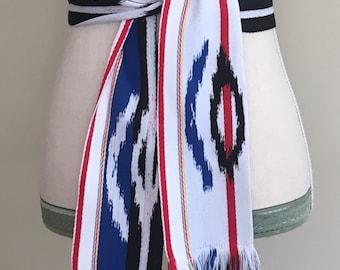 Woven Tribal Ikat Belt Vintage 70s Ethnic Boho Festival White Cotton Fringe Adjustable Tie Waist