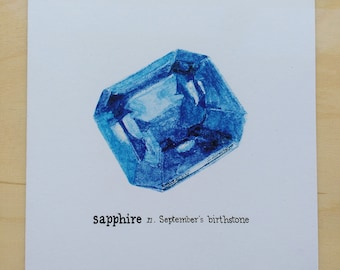 September birthstone birthday card