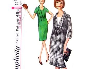 Vintage 60er Jahre Shift Kleid Einfachheit 5740 Kragen Zuschlagsempfänger Damen Größe 12 Nähen Muster