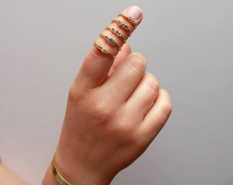 Diamond Ring // Multistone Ring // April Birthstone // Raw Stone Gold Ring // Gold Ring // Stacking Ring // Raw Gemstone Ring // Raw Crystal
