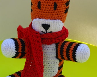 Crochet stuffed Henry the tiger plush doll with red scarf