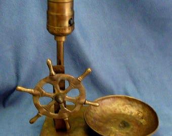 Brass Ships Wheel Lamp & Change Tray Vintage Nautical Light