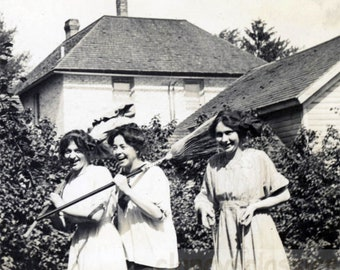 vintage photo 1917 Three Women Act up Broom Garden Tools Silly Gals