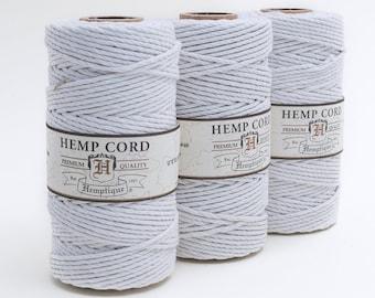 Hemp Cord 2mm,  White Hemp Cord,   205 feet,  48lb,  Twine, Hemp Twine 2mm,  1 Spool-T78