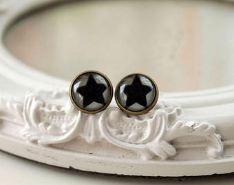 Black star  earrings studs brass toned posts space astronomy