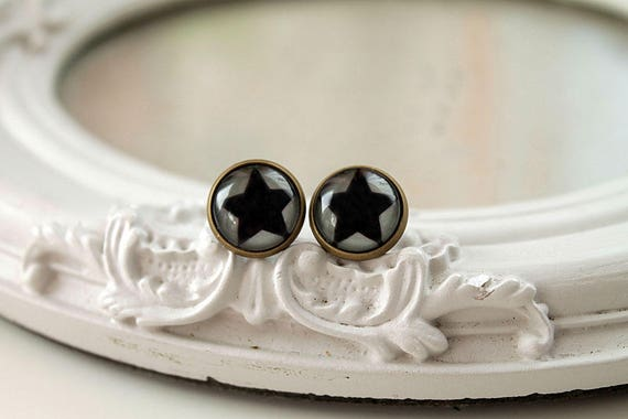 Black star clip on  earrings  brass toned  space astronomy