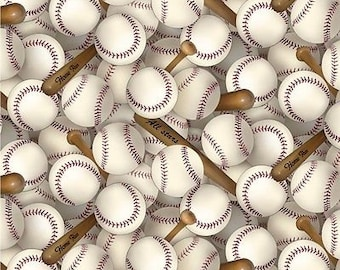"Sport Fabric: All Stars Baseball Bat and Baseballs Packed on White by Elizabeth's studio 100% cotton fabric by the yard 36""x44"" (ES170)"