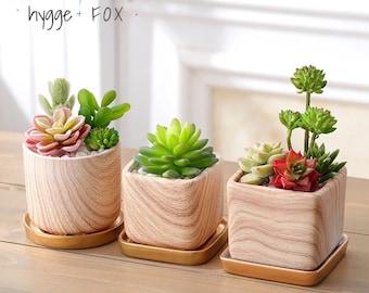 Wood Mable Pattern Cube Ceramic Planter w/ Bamboo Tray, Succulent Planter, Ceramic Planter, Home decor, Succulent, Gift Idea, Cactus Planter