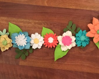Paper flower garland/white paper flowers/green paper flowers/ blue paper flowers/pink paper flowers/orange paper flowers/paper flower decor