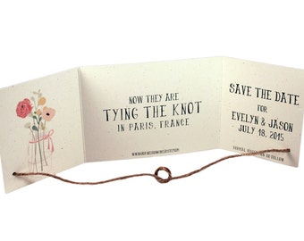 Rustic Tying the knot save the date set of 25, Tying the knot invitation, mason jar save the date, recycled save the date, tie the knot card