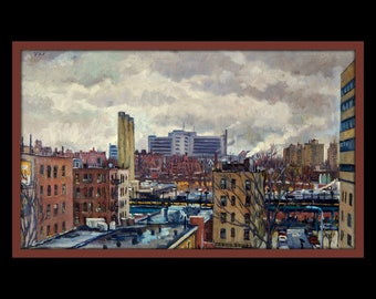 Overcast, The Bronx from Manhattan. Original Oil Painting, 12x20 Oil on Canvas, Urban Realist New York City Fine Art, Signed Original Oil