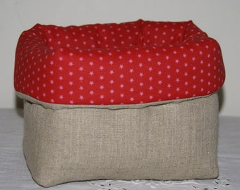 Fabric basket Organizer quilted linen and pink stars on Red