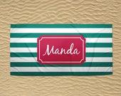 Personalized Beach Towel - Monogram Beach Towel - 30x60 Towel - Wedding Beach Towel - Custom Beach Towel - Stripe Towel - Teal and Pink