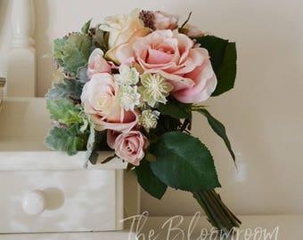 Bridesmaid bouquet, Vintage bouquet, Rose bouquet, Silk wedding flowers, Silk flower bouquet, Classic bouquet, Silk bridal bouquet, Lotti