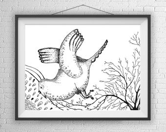 Bird Print, Bird Illustration, Bird Lover Gift, Wall Art Bird , Bird Art, Pen and Ink drawings, Bird drawing, Bird gifts, Pen and Ink art