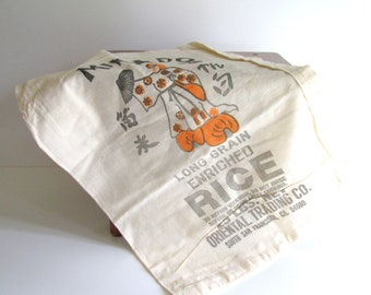 Vintage Muslin Rice Sack, 25 LBS. Mikado Brand Rice, Geisha, San Francisco, Bright Graphics Black Orange Graphics Craft Supply NOS