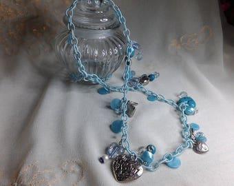 Velvet blue faux Pearl chain necklace