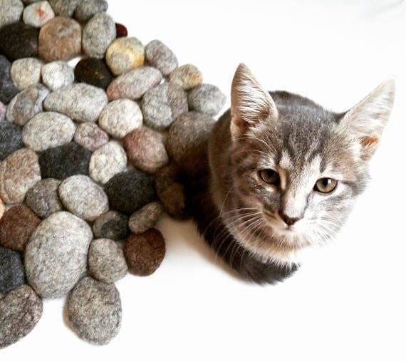 Wool Cat Dog Mat Felt Stone Rug Pet Bed Cat Birthday Handmade
