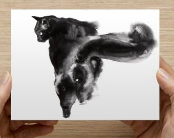 """Card with my cat art Postcards (5.47"""" x 4.21"""")"""