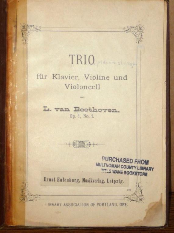 Trio fur Klavier, Violine und Violoncell Op 1 No 1 Beethoven - 1938 - Piano Violin Cello - Ernst Eulenburg - Germany