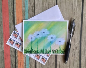 Green Notecard - Dandelion Note Card - Mini Art Card - Blank Note Card - Card with Envelope - Nature Card - Flower Note Card