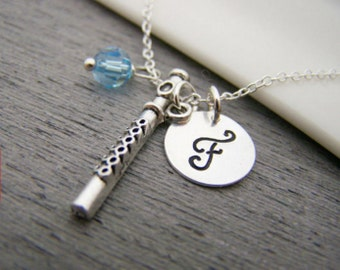 Flute Music Charm Swarovski Birthstone Initial Personalized Sterling Silver Necklace - Gift for Her