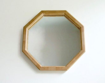 "Geometric Wall Mirror, 16"" Mirror, Reclaimed Wood Mirror, Octagonal Mirror, Decorative Wall Mirror, Handmade Wood Mirror, Wood Frame, Unique"
