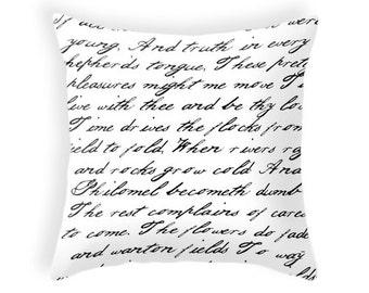 Black and white handwriting poem throw pillow cover. Black and white cushion typography cushion typography pillow Black and white pillow