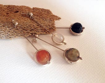 Handmade Sterling Silver and Natural Stone Earrings - Artisan, Contemporary, Organic, Hand Forged Jewellery, One-of-a-kind, Unique Gift