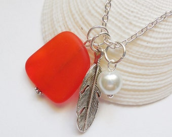 Marbled Tangerine Beach Glass, Orange Sea Glass Necklace,Charm necklace,Feather Necklace, bridesmaid necklace, beach wedding.  FREE US SHIP