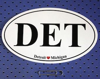Detroit Michigan (DET) Oval Bumper Sticker