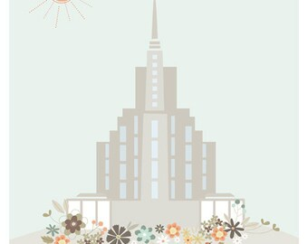 """LDS Oquirrh Mountain Temple Printout - 8.5 x 11 inch - 8"""" x 10"""" - Printable digital file - Instant Download - Lulu"""