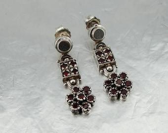 925 Garnet Earrings, Long 925 Sterling Silver Garnet Earrings, Flower earrings, Handmade CZ Earrings, Gift, everyday, birthday,