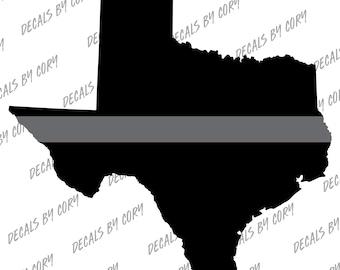 Texas State Thin Silver Line Outline Car Decal Houston San Antonio Dallas Austin Corrections Officer Prison Guard