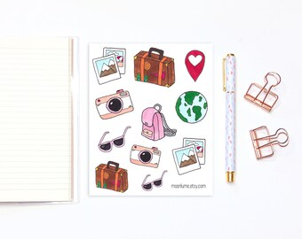 Travel stickers - 11 traveler stickers, planner stickers, bullet journal stickers, bujo stickers, vacation stickers, holiday stickers