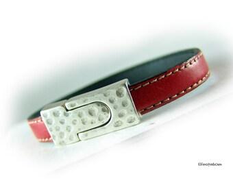 Lederarmband rot silber - Leder Armband - Geschenk für Sie für Ihn für Pärchen - Ehefrau Freundin Schwester Eheman Freund Bruder