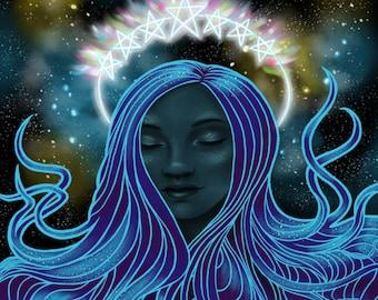 Star Goddess - Fine Art Print, 8x8 12x12, 16x16, 20x20, wall art, pagan art, wiccan art, witch art, fantasy art, pagan decor, goddess art