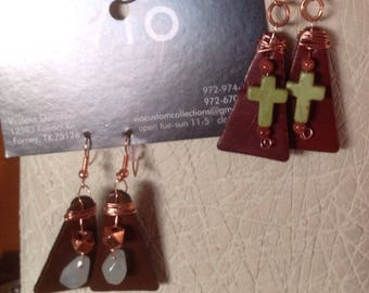 leather and beads triangle earrings