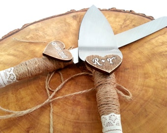 Personalized Rustic Country Chic Wedding Knife Set, Cake Serving Set Rustic Wedding Cake, Server and Knife, Cake Servers and Knives
