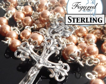 Catholic Rosary - Rose Gold Pearl in Sterling Silver Rosary Beads - Pink Rosary