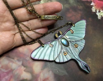 Hand tooled and painted leather luna moth necklace with labradorite - Moon moth pendant - Handmade artisan jewelry - Original gift for her
