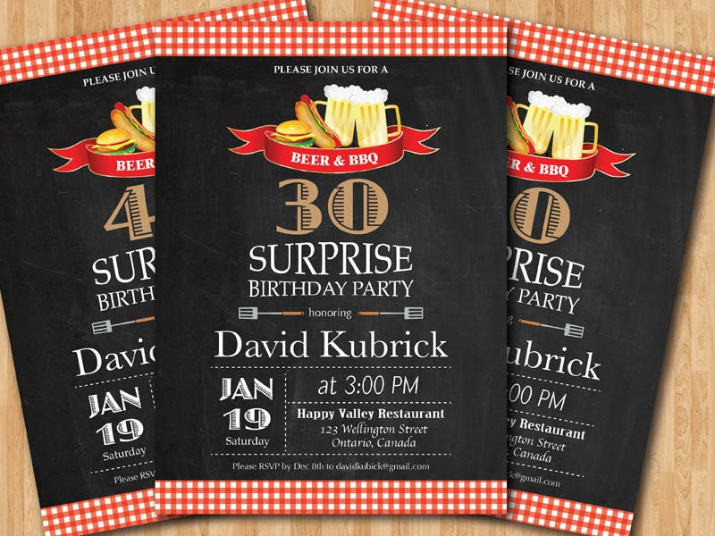 Beer & BBQ Surprise Birthday Party Invitation. 30th 40th 50th