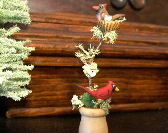 RESERVED for JD Only - Tiny Cardinal Pair - Natural Acorn Top Nested Twig, Moss & Lichen - OOAK 1:12 Scale