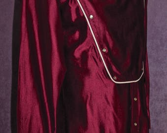 Rare Rockmount Vintage Calvary Bib Western Shirt Rockabilly Berry Red Maroon Urban Cowboy Old West 60s 70s 80s Free Domestic Shipping