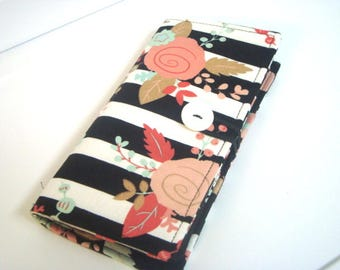 12 - 38 Slot Card Loyalty Card Organizer, Business Card Holder  Credit Card Wallet  Black and White Stripes with Floral